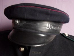up cycled military cap repurposed for diesel punk