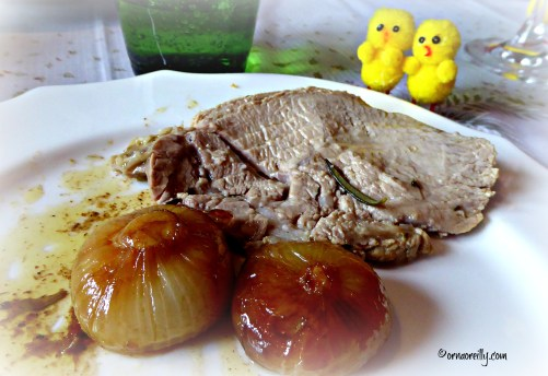 Veal with caramelised onions