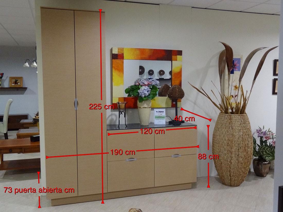 Mueble de entrada con armario en roble natural FEN1