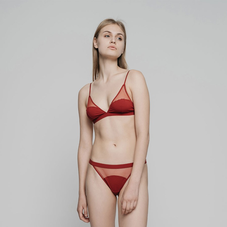 variable| Triangle Soft-Cup Bra Set | Maroon