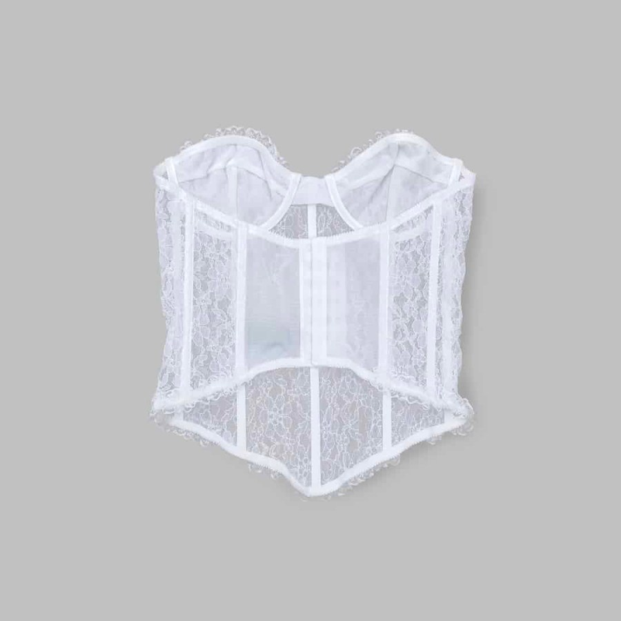 variable| Lace Corset | White