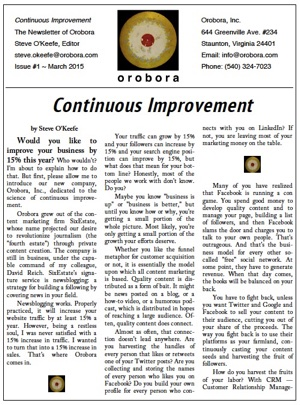 Continuous Improvement - The Printed Newsletter of Orobora, Inc.
