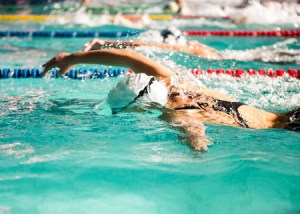 Swimmer showing her stroke.