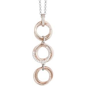 dd283e9d93f021 Collana donna Boccadamo collezione Emilì in argento bicolore con pendente a  cerchi intrecciati e zirconi GR726RS