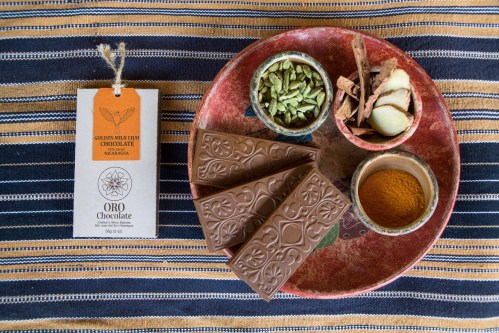 Golden Milk Chai Bean to Bar Chocolate Bar 52% Cacao Bean to Bar Direct Trade Heirloom Cacao Reforestation with local organic ingredients on Guatemala Organic Textile