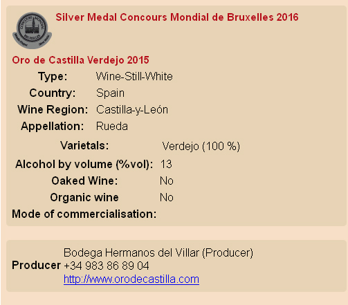 Mondial de Bruxelles Oro de Castilla Plata Verdejo