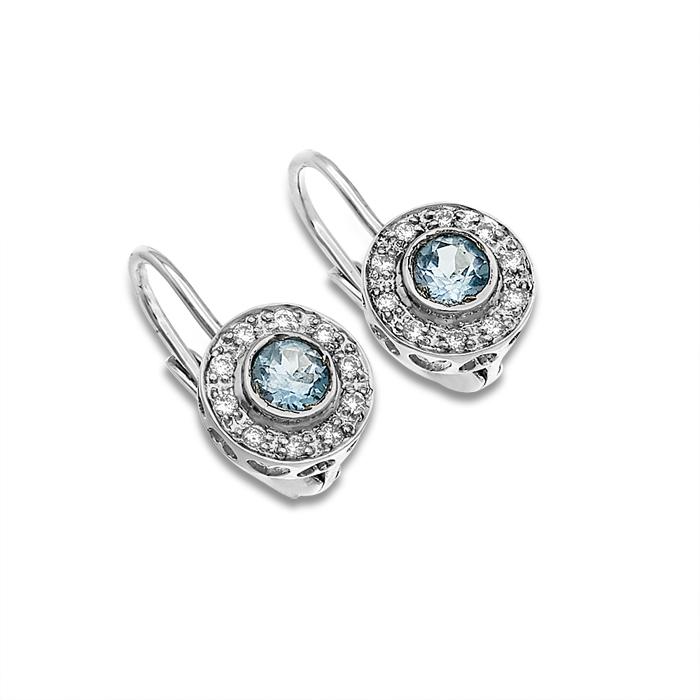 020ct Diamond & Topaz Hinged Snap Back Earrings 14k Wg  Ebay