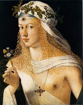 Portrait de femme par Bartolomeo Veneto (le tableau est traditionnellement considéré comme représentant Lucrèce Borgia). Bartolomeo Veneto [Public domain or Public domain], via Wikimedia Commons