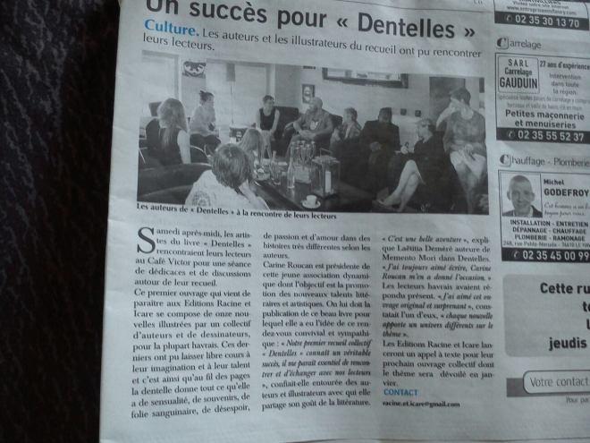 """Les auteurs et illustrateurs de """"Dentelles"""" dans le journal du Havre"""