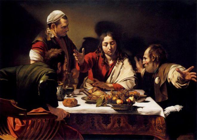 Le repas à Emmaüs, 1601, huile sur toile, 141× 196 cm, National Gallery, Londres. Caravaggio [Public domain], via Wikimedia Commons