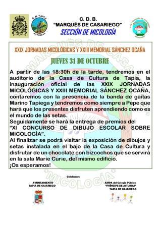 Jornadas Micológicas Memorial Sánchez Ocaña que organiza el Club Deportivo Marqués de Casariego