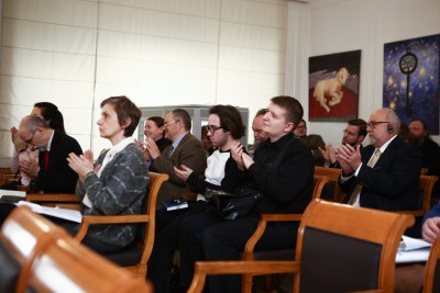 Participants at the Moscow patristics conference on St Basil the Great