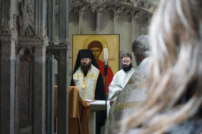 Praying before the relics of St Alban
