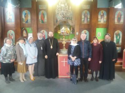 Bishop Irenei visits the site of the future mission community in Telford during Paschaltide 2019