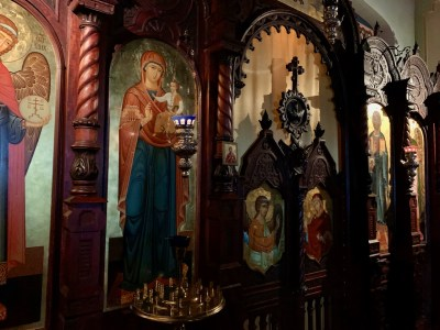 A detail of the iconostasis of the Resurrection Parish, Brussels
