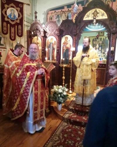 Archpriest Stefan Weerts greets the Bishop after the Liturgy, Resurrection Parish, Brussels
