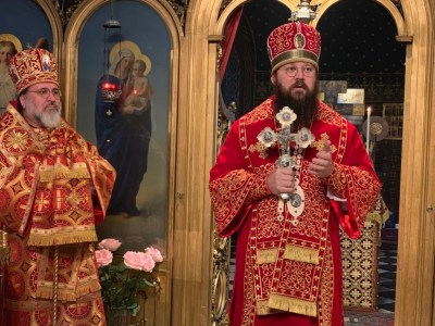 Bishop Irenei greets the faithful at the end of the Liturgy