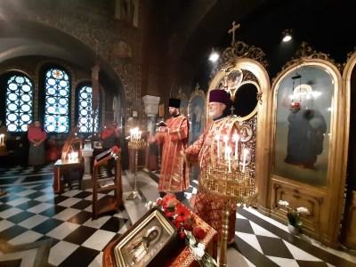 Archdeacon Dometian (L) and Protodeacon Michael Vernaz (R)