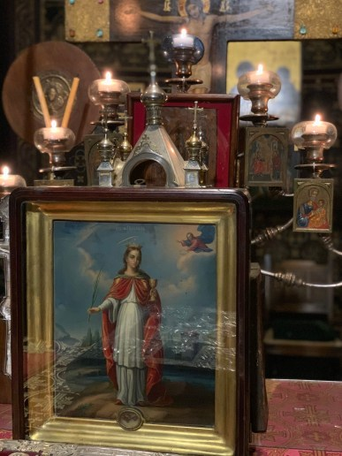 Icon and relics of St Barbara the Great-martyr, at the Vevey Parish, 2019
