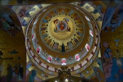 Główna kopuła świątyni z freskiem Chrystusa Pantokratora