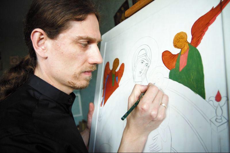 Jan Grigoruk - ikonopisca z z Monasteru Zwiastowania Najświętszej Marii Panny w Supraślu