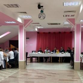 Pielgrzymi na uroczystym obiedzie u burmistrza Toga