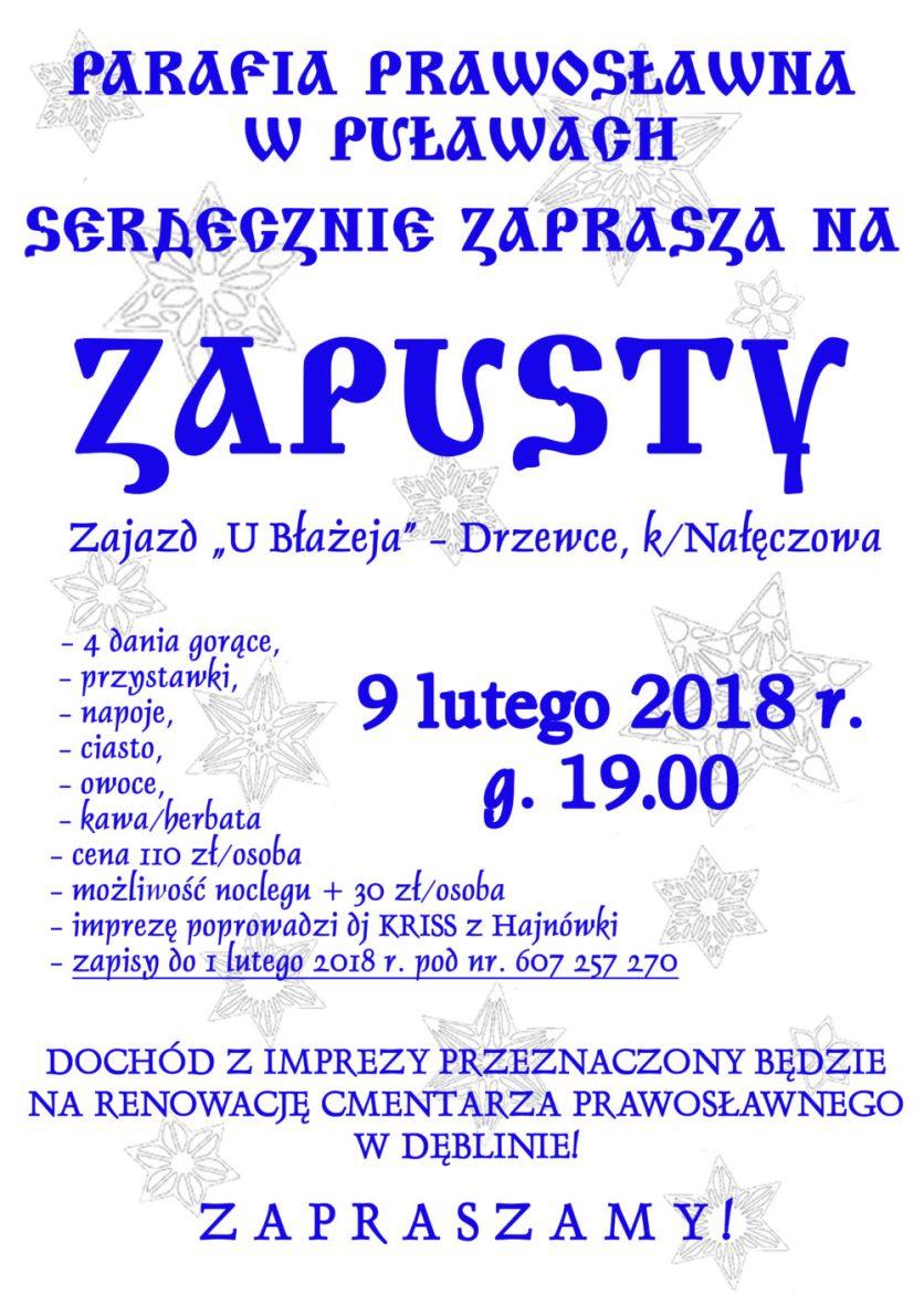 Parafia prawosławna w Puławach - zapusty luty 2018
