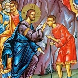 Jesus helps the blind to see