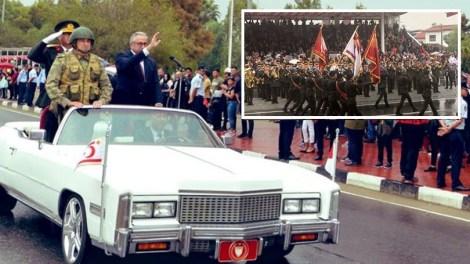 Κύπρος | Οθωμανική παρέλαση με γιαταγάνια υπό βροχή στο ψευδοκράτος (ΒΙΝΤΕΟ)