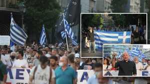 Συγκέντρωση ενάντια στους υποχρεωτικούς εμβολιασμούς στο κέντρο της Αθήνας
