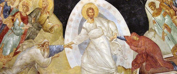 Fresco from Kariye Camii, Anastasis - showing Christ and the resurrection of Adam and Eve