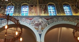 Detail of original Anglican church frescoes in the Moscow Patriarchate Russian Orthodox parish in London, UK.