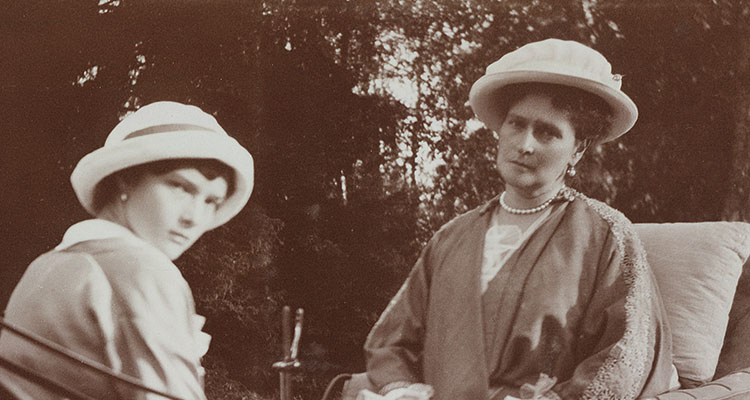 Empress Alexandra Feodorovna and Grand Duchess Tatiana on a carriage ride in the Alexander Park. Spring 1917.