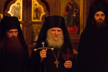 Archmandrite Luke with the two newly tonsured Rassaphore Monks, Fathers Lev and Angelos