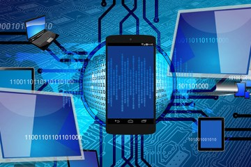 Digital devices connected through binary code on the internet