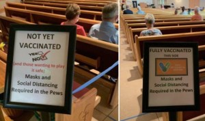 Church segregation vaccinated and unvaccinated