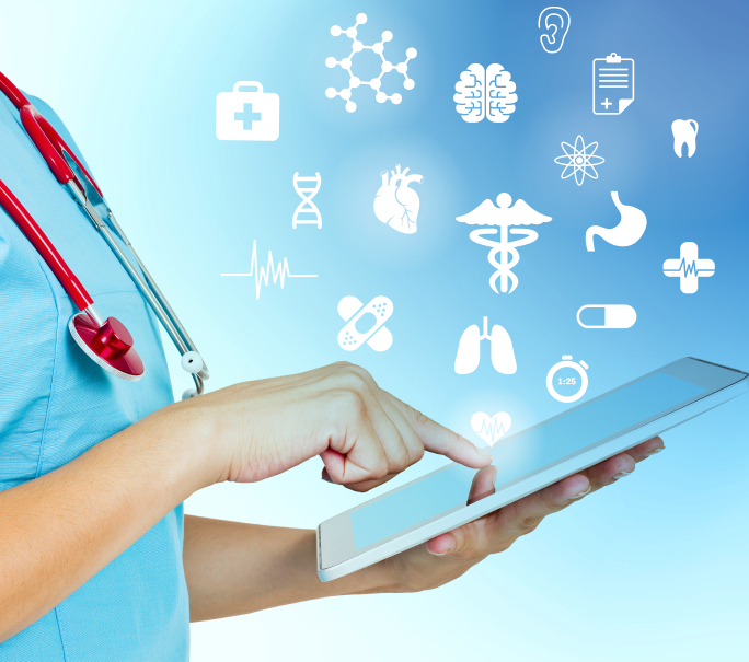 Female doctor using digital tablet, side view. Studio shot.
