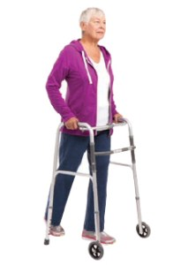 Woman using a walker.