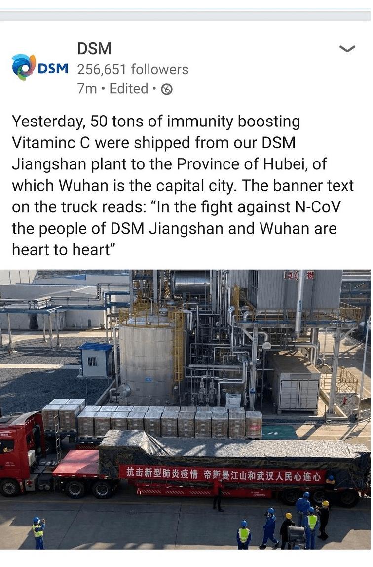 50 tons vitamin C to Hubei Wuhan