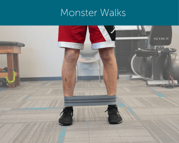 Orthopedic Institute physical therapist demonstrates how to perform a monster walk using a resistance band.