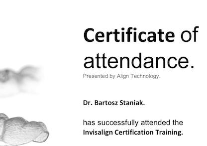 certyfikat Invisalign doktora Staniaka