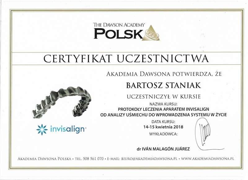 Certyfikat dla doktor Staniak ortodonta invisalign w Poznaniu