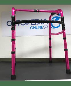 andador em alumínio rosa metálico infantil - ortopedia online sp