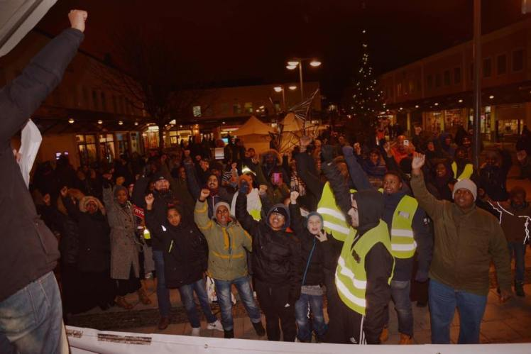 Från Förorten mot vålds demonstrationer i Rinkeby i december. Bild: FMVs Facebooksida