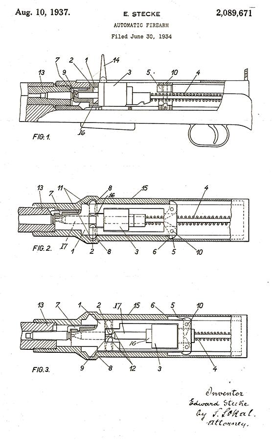 Patentni list ''Automatsko oružje'' Eduarda Stekea № 2,089,571 оd 10. avgusta 1937.