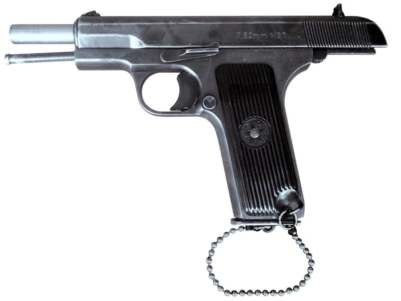 Policijski pištolj M57 sa okvirom lančićem pričvršćenim za rukohvat