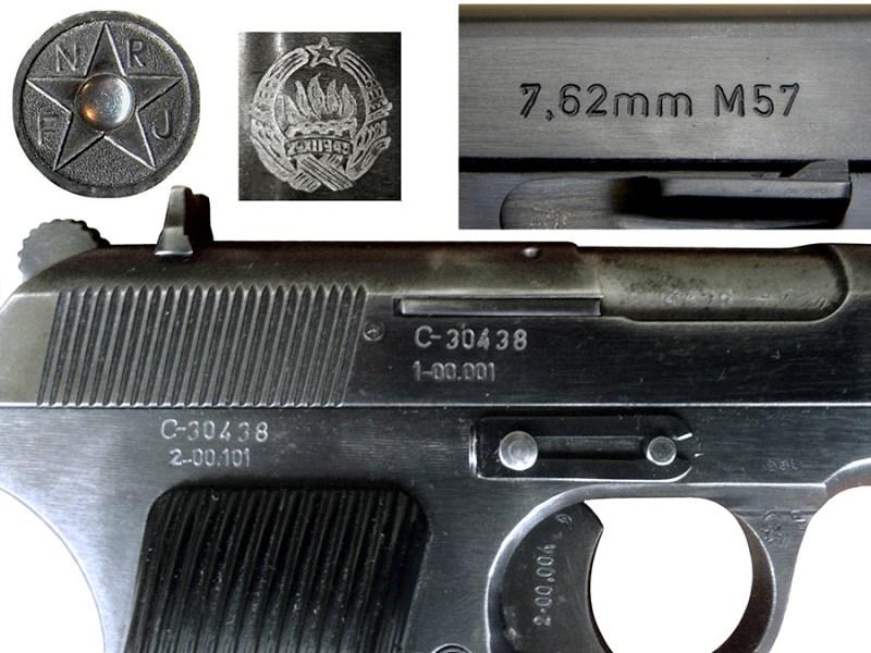 Oznake na službenim pištoljima M57: kalibar, model, grb FNRJ/SFRJ, seriski broj, kataloški broj delova, žig vojne kontrole (VK)