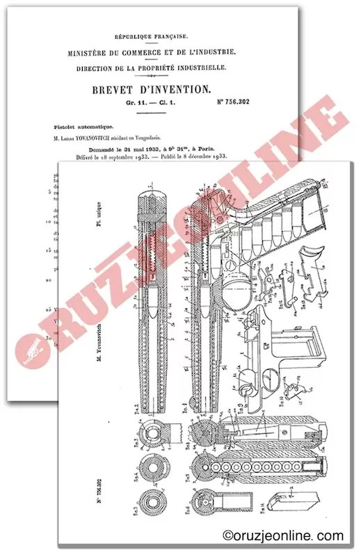 Yovanovich blowback semi-automatic pistol. French Patent No. 756,302.