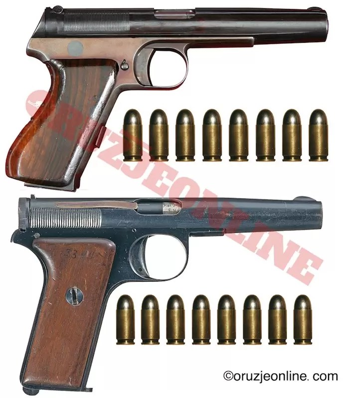 Yovanovitch M1931 9 mm (.380) calibre pistol. (above) and 9mm (.380)  M1930 (below).