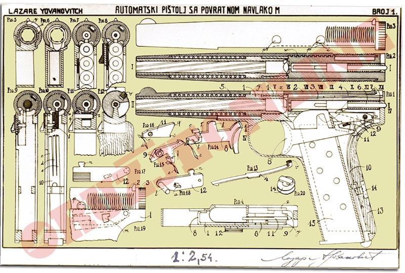 Original technical drawing of Yovanovitsh 1931 380.ACP. calibre pistol  (Patent specification No.494,  July 1st, 1934).